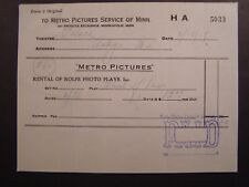 Vtg Movie Billhead Metro Pic 1917 The Wheel of the Law Emily Stevens Frank Mills