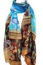 bleu roi exotique imprimé floral Grand Maxi écharpe étole SARONG écharpes hijab