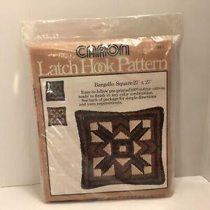 "Vintage 1977 Caron Bargello Square Latch Hook Canvas Pattern 27"" x 27"" #3067"
