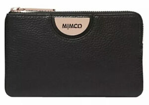 MIMCO Black Pouch Echo Leather Wallet Bag Purse BNWT Rose Gold Hardware Dust Bag