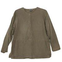 Amy K Su Popover Tunic Shirt Womens Sz M Medium Brown Long Sleeve Drop Waist