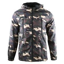 Men's Hooded Lined Windbreaker Water Resistance Rain Warm Hunting Jacket Camo