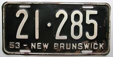 New Brunswick 1953 License Plate # 21-285