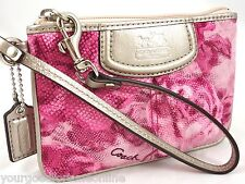 NWT Coach Madison Floral Pink Sateen ID Wristlet Clutch Metallic Leather 47595