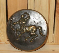 Vintage hand made brass wall hanging plaque centaurus