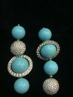 Pave 96,72 Carats Naturel Diamants Perle Dangle Boucles d'oreilles En 750 18K Or