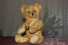 Antique 1950s Yellow Thuringia Germany Bear Fully Jointed Glass Eyes & Bells