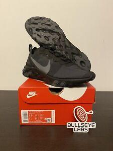 Nike React Element 55 Triple Black/Dark Grey [Sz 7.5-12] BQ6166-008 SHIPS FAST