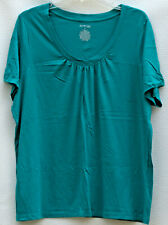 St. John's Bay Teal Short Sleeve v-neck Top.  Plus 2X.  nwot