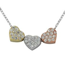 Sterling Silver Gold Triple Love Heart Charm Crystals CZ Womens Pendant Necklace