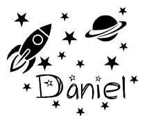 Personalised Name Space Rocket Wall Art Boys Room Childrens Kids Sticker Vinyl