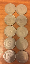 50 DM in 10 x 5 DM Münzen
