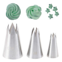 3Pcs Premium Stainless Steel Piping Nozzles Russian Pastry Tips Decorating T JA