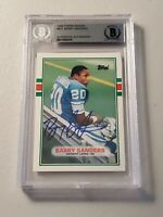 1989 Topps Traded Barry Sanders RC Auto Beckett Authentic Autograph