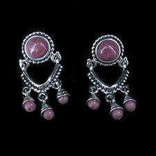 QVC .925 Sterling Silver Natural Pink Rhodonite Door Knocker Earrings