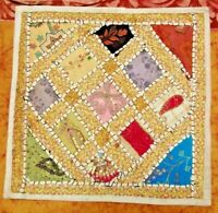 Housse de coussin Patchwork Blanc brodée à la main Motifs indiens Coton Boho H4