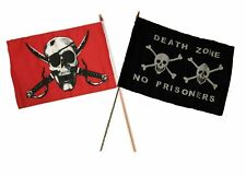 "12x18 12""x18"" Wholesale Combo Pirate Crimson & Death Zone Prisoners Stick Flag"