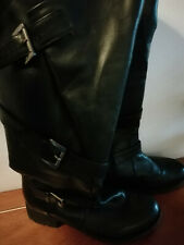 Di25)Pair black calf high boots Heavenly Soles size 6 wide fit size E Joe Browns