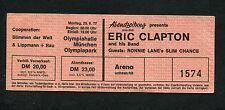 1977 Eric Clapton Ronnie Lane Slim Chance unused concert ticket Munich Germany