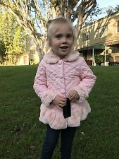 NWT Isobella & Chloe pink quilted crinkled ruffled winter coat girls size 4T $60