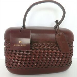 ETIENNE AIGNER MONTEREY COLL TABACCO WOVEN LEATHER BASKET STYLE HANDBAG NWT
