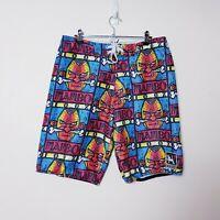 Mambo Mens Size S W32 Red Tribal Tie Up Swim Trunks Surf Board Shorts Boardies
