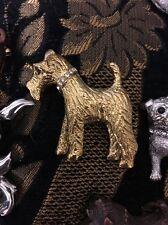 UK Designer Golden WELSH,IRISH,AIREDALE,WIRE FOX TERRIER XTAL COLLAR DOG BROOCH