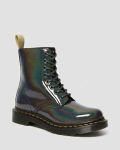 Dr Martens Vegan 1460 Pascal Gunmetal Prysm Iridescent Rainbow 8-Eyelet Boots