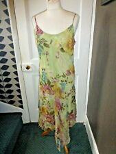 Rene Derhy UK16 US 12 Bonito Vestido Floral Floaty Viscosa Con Tiras