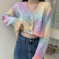 Women Rainbow Tie-dye Knit Jacket Cardigan Short Sweater Loose Tops Knitwear