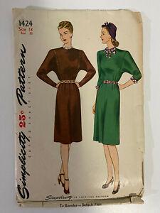 Vintage Original Simplicity #1424 dress pattern size 18 bust 36 1940's