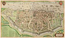 Antwerp Flemish Region Belgium bird's-eye view map Braun Hogenberg ca.1598
