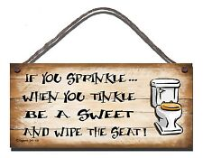 SHABBY CHIC FUNNY SIGN IF YOU SPRINKLE TINKLE TOILET BATHROOM GIFT PRESENT 108