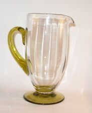 1930's Whitefriars Ribbed Glass Jug on Green Foot and applied Handle 21 cm