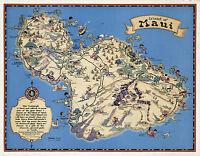 Historical Pictorial Map Hawaiian Island of Maui Vintage Wall Art Poster Print