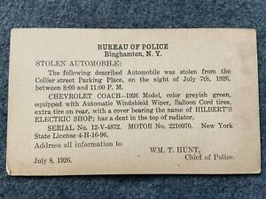 1926 Stolen Car, Bureau of Police, Binghamton, New York Vintage Postcard