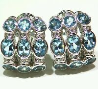 10.20CT 18K Gold Natural Aquamarine White Diamond Vintage Engagement Earrings
