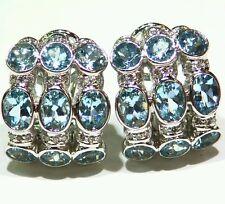 10.20CT 18K Gold Natural Aquamarine White Diamond Vintage Engagement Earrings