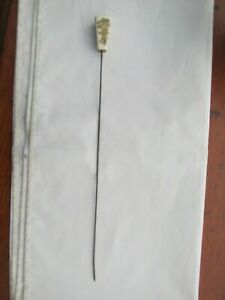Antique Long Japanese Satsuma Hat Pin Bamboo and Butterflies