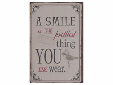 "Chic Antique Blechschild ""A smile is the prettiest thing ..."""