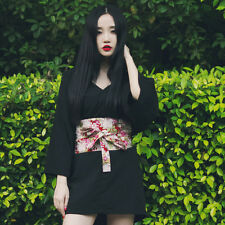 Women's Vintage Japanese Punk Lolita Kimono Skirt Dress + Obi Cosplay Gown Sa