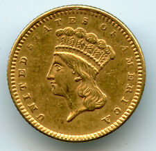 Genuine 1861 $1 Indian Princess Gold Coin, XF Details with jewelry mount removed