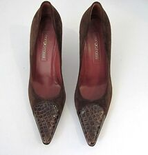 Sergio Rossi Brown Suede Leather Alligator Print Front Pumps Size 38 1/2