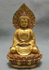 TIBET COLLECTION GOLD-PLATED BRASS PRAY BLESS SHAKYAMUNI BUDDHA STATUE TIBET