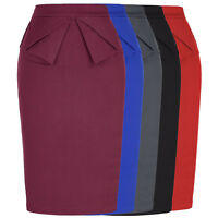 Retro 50s Women Plain Bodycon Pencil High Waisted Ladies Stretch Midi Skirt S-XL