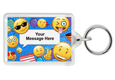 Personalised Smiley Keyring -Add Any Message- Birthday/Wedding/Party/Anniversary