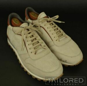ANDREA VENTURA FIRENZE Solid Ivory Suede Mens Shoes Sneakers - EU 44 / US 11