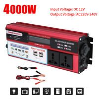 4000W Converter Power Inverter DC12V To AC220V-240V Invertor + 4 USB Dual Socket