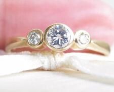 Beautiful Genuine 0.40ct G/SI Diamond Trilogy Ring 18K Yellow Gold
