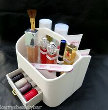 WHITE FAUX LEATHER COSMETIC & BEAUTY PRODUCT ORGANISER - SUPERB VALUE @ £5.99 !!
